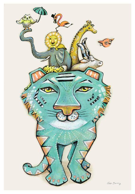 A blue green Tiger Illustration by Sofie Børsting