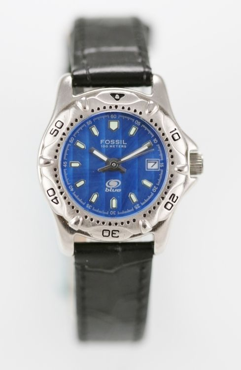 Fossil Blue Watch Womens Date Black Leather Silver Stainless Water Re 50m Quartz