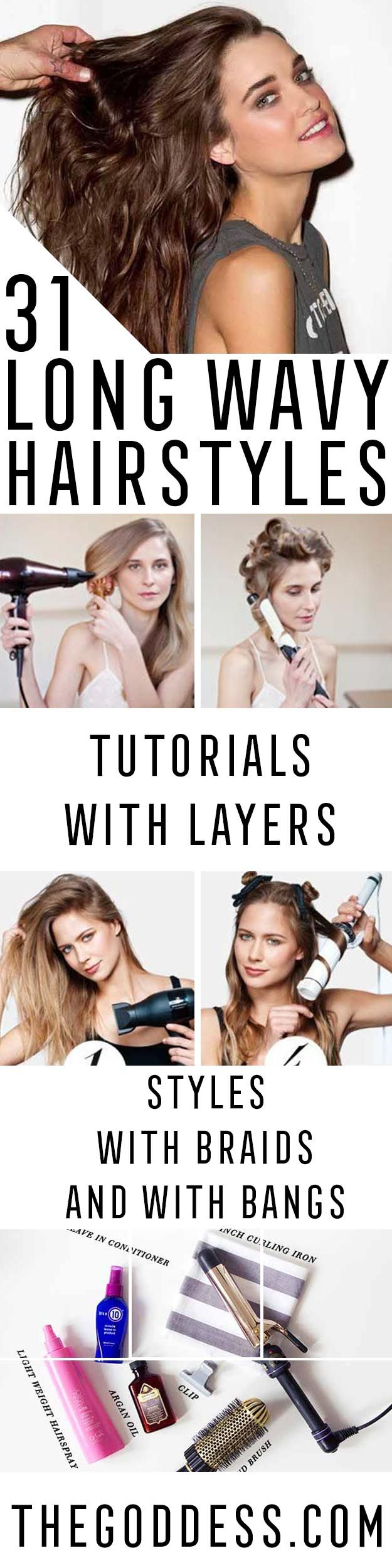 Long Wavy Hairstyles - Beautiful Long Layered Haircuts And Long Wavy Haircuts With Layers And With Bangs. Half Up Bob Tutorial For Wedding, Prom, Or For Homecoming. No Heat Wavy Hairstyles That Are Gorgeous And Natural. Black, Blonde, And Brunette Long Wavy Hairstyles For Round Face, With Braid, With Ponytail, and With Medium Length Hair. DIY Ideas For That Boho Look, Or Updos For Medium Length Hair. Add More Volume For Thin Hair With Waves And Curls…