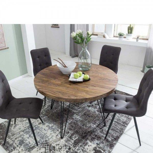 Runder Tisch Agadir aus Sheesham Massivholz und Metall
