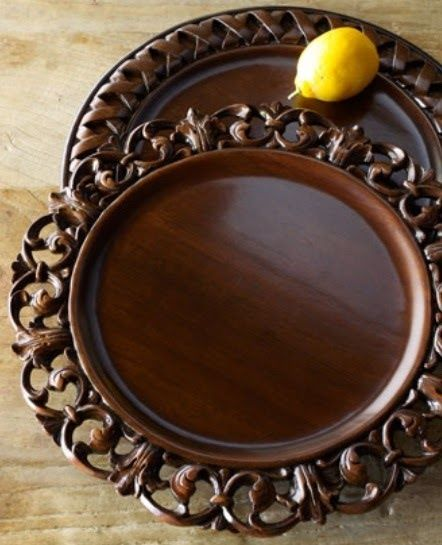 Wooden charger plate| ornate charger for Ren Faire wedding