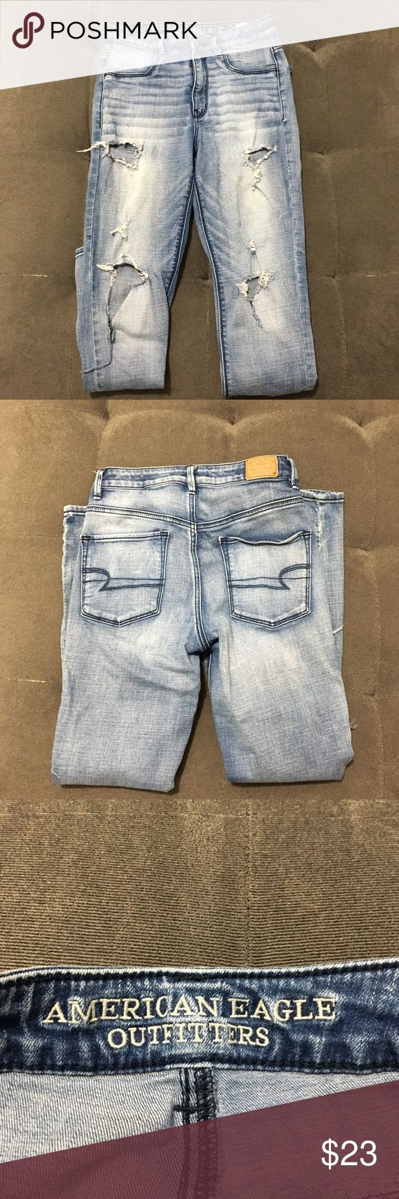 """American Eagle distressed sky high jeggings American Eagle distressed sky high jeggings  Size: 6  About 13"""" waist (laying flat) About 9 1/2"""" front rise About 27 1/2"""" inseam  Good pre loved condition. See pic of stain on back of leg   Bundle fav items for a personal discount. Offers are always welcome, too! No trades. Thank you! (43) American Eagle Outfitters Jeans Skinny"""