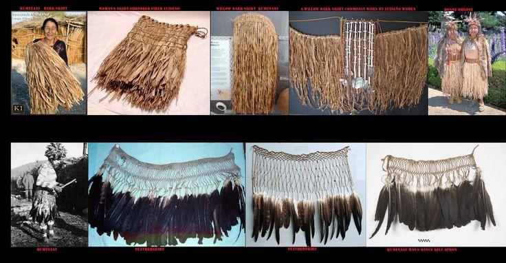 Gonne tipiche dell'abbigliamento dei popoli californiani. Elemento caratteristico dell'abbigliamento femminile erano i doppi grembiuli di strisce di scorza d'albero, mentre gli uomini a scopo rituale indossavano delle gonne coperte di penne.