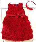 BABY GAP Photo Op Red Christmas Rosette Dress Girls