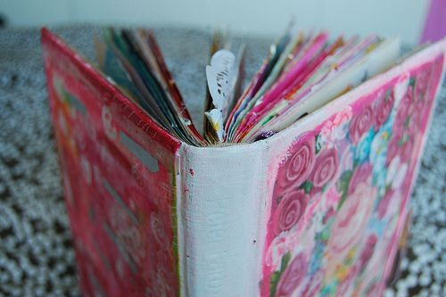 Make altered books from outdated school textbooks or second-hand books with missing pages.