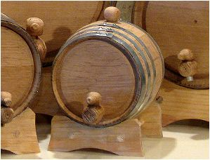 1 Liter Oak Barrel with Galvanized Hoops, $32.95.  Other websites are offering custom engraving for more $$