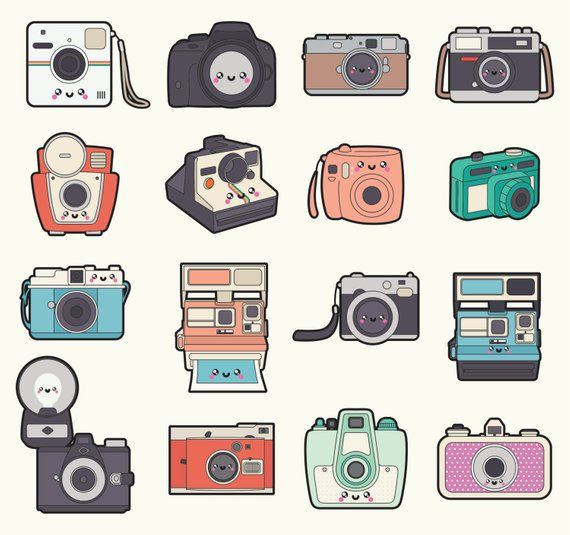 Camera kawaii. Premium vector clipart cameras