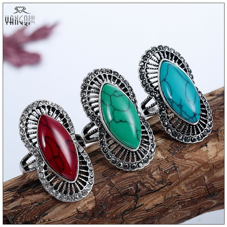 Exaggeration Bohemia Calaite Stone Rings Tibet Silver Tone Black Crystal Bague Men Women Red Jewelry Vintage Anillos