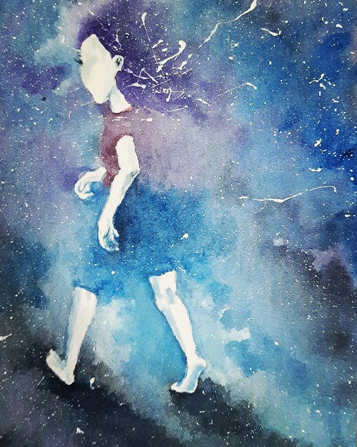 girl in the universe, watercolor