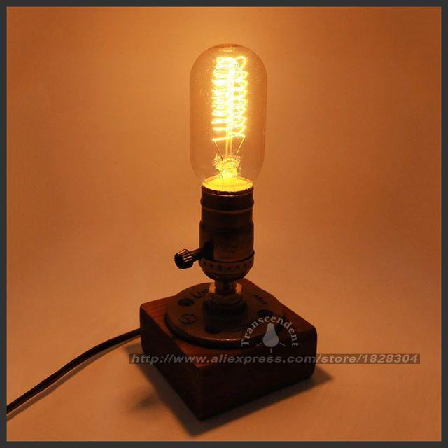 Retro Coffee Shop Table Lamp Wood Vintage Desk Lamp Dimmable 40W Edison Bulb 220V Bedroom Bar Table Light Desk Light wooden