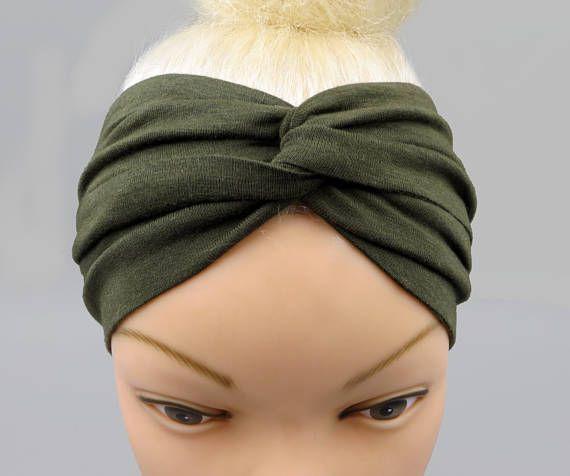 Fascia per capelli turbante fascia per capelli verde oliva