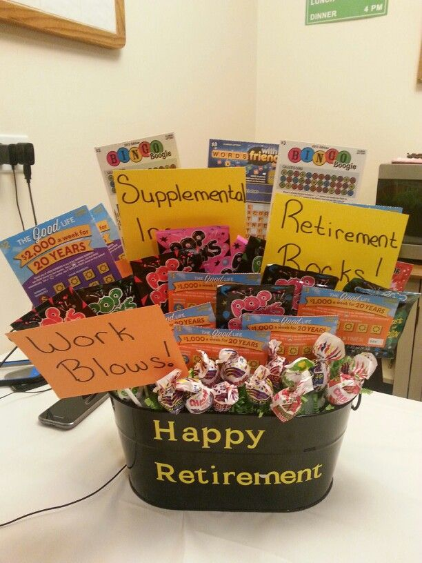 Retirement basket for my father in law.... lotto tickets (supplemental income), pop rocks (retirement rocks), & blow pops (work blows)