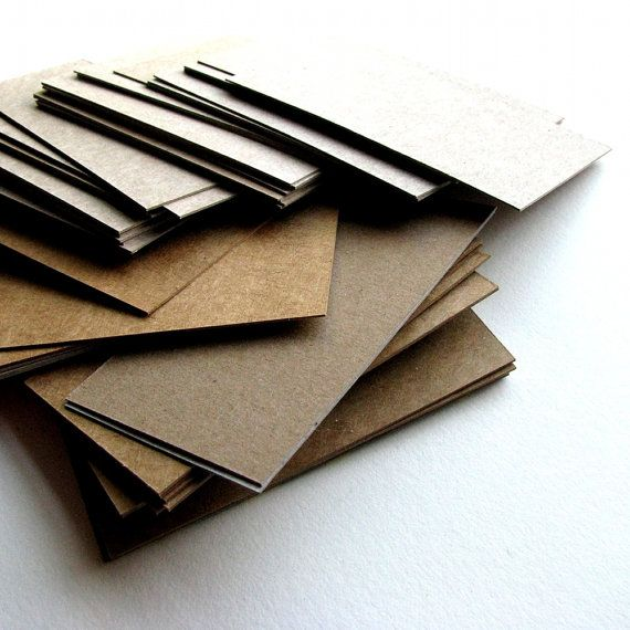 upcycled blank business card blanks--cut from cereal boxes, tissue boxes, greeting cards, etc.