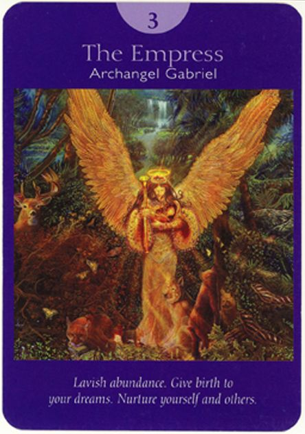 III. Empress - Archangel Gabriel - Angel Tarot Cards by Doreen Virtue and Radleigh Valentine. Artwork by Steve A. Roberts