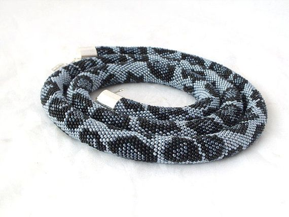 Bead crochet necklace with gray leopard skin by RebekeJewelry