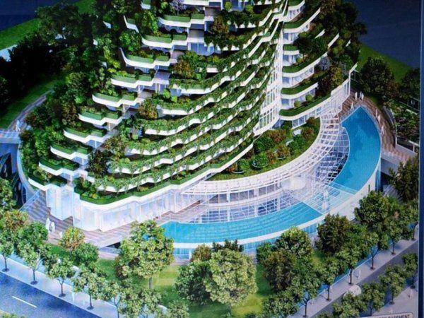 A 20 emeletes Agora Kert apartman blokkot úgy képzelték el, mint aminek a belsejét kettős spirál szerkezetét veszi körül.