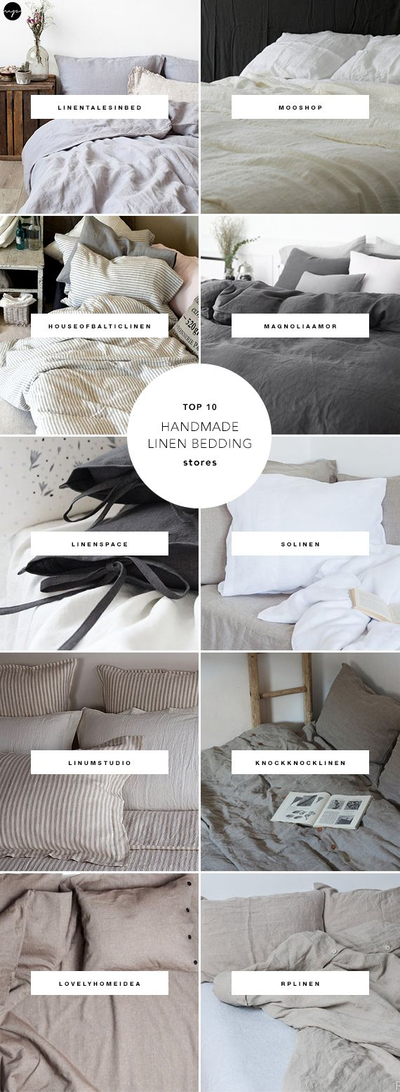 rispy linen bedding? Great! I myself sure can't get enough of the fresh, casual and sophisticated vibe they add to the room. Due to their unrefined and delicate nature, the handmade ones are even more precious and gorgeous than those purchased from large retailers. And, what better place to shop handmade than the amazing Etsy? Here are my favorite shops of great handmade linen