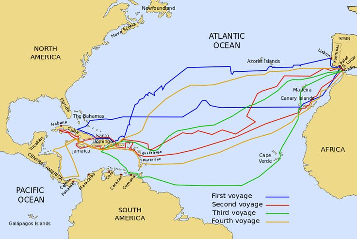 The 4 voyages of Christopher Columbus. All 4 were sponsored by the Crown of Castille (over which Catherine of Aragon's mother Isabella was ruler). During his fourth voyage, in 1502, Catherine would be in England, having been married to Prince Arthur in 1501.