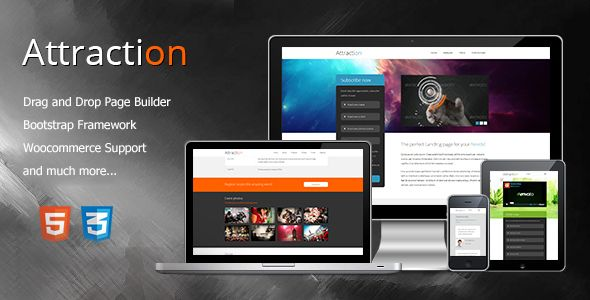 Attraction Responsive WordPress Landing Page Theme by Theme-Squared About AttractionAttraction is a responsive one-page/multi-page WordPress landing page, built for promoting and selling products, s