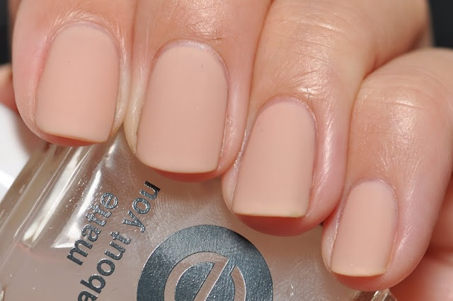Essie in Matte About You over OPI Samoan Sand