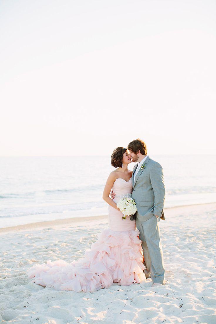 Blush Wedding Dress on the Beach via @Grey Likes