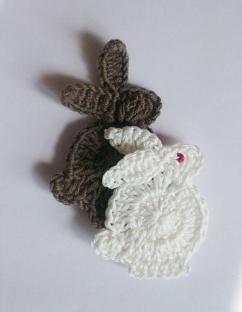 bunny applique - free crochet pattern by pearl hegedus via Ravelry