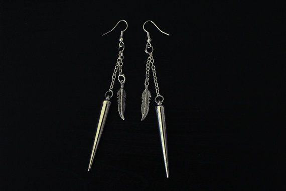 Handmade one of a kind dangle earrings with icicle and feather charms