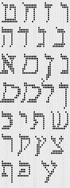 cross stitch or needlepoint chart of Hebrew alphabet
