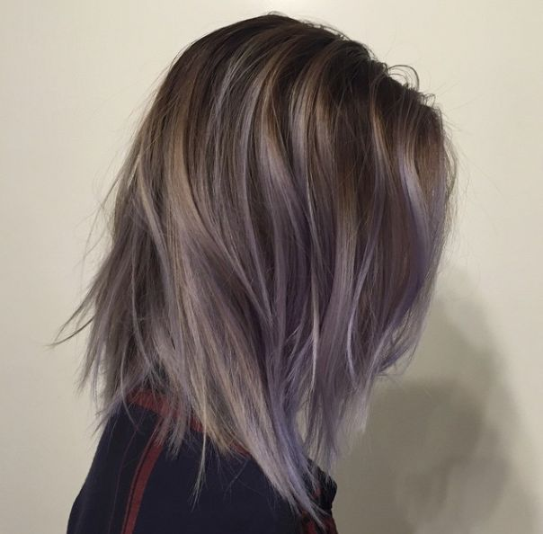 cool violet ombre on dark hair
