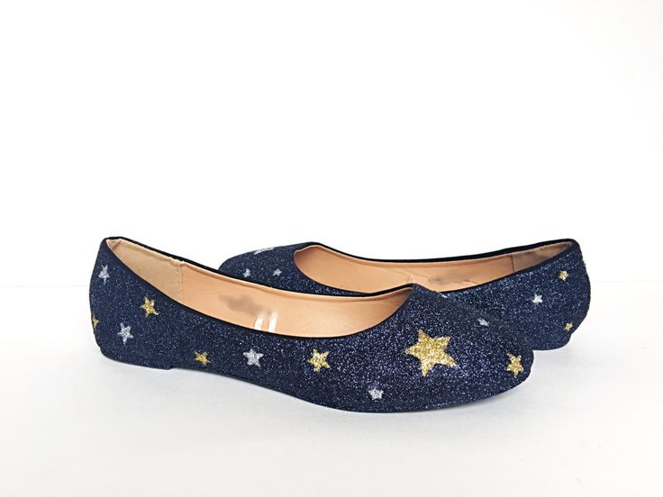 Glitter Flats - Starry Black Gold Silver - Gold Star Shoes - Wedding Shoes - Sparkly Slip On Shoes - Star Prom Shoes - pinned by pin4etsy.com
