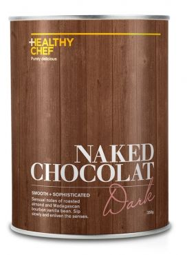 "NAKED CHOCOLAT DARK Chocoholics rejoice! The Healthy Chef has launched Naked Chocolat - the perfect way to indulge with a delicious blend of super foods.  Bursting with antioxidants, mineral rich cacao, carob, maca, cinnamon and pure vanilla bean, this potent blend provides sustained energy, supports the endocrine and immune systems and contributes to hormonal balance. Not only does Naked Chocolate promote optimal wellbeing – it tastes amazing too!  ""I've searched the world to bring together…"