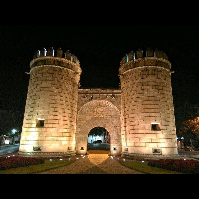 Fachada exterior de Puerta de Palmas, 1551,(llamada Puerta Nueva inicialmente). Es una puerta monumental de entrada a la ciudad cuando Badajoz estaba amurallada por una cerca medieval (siglos después