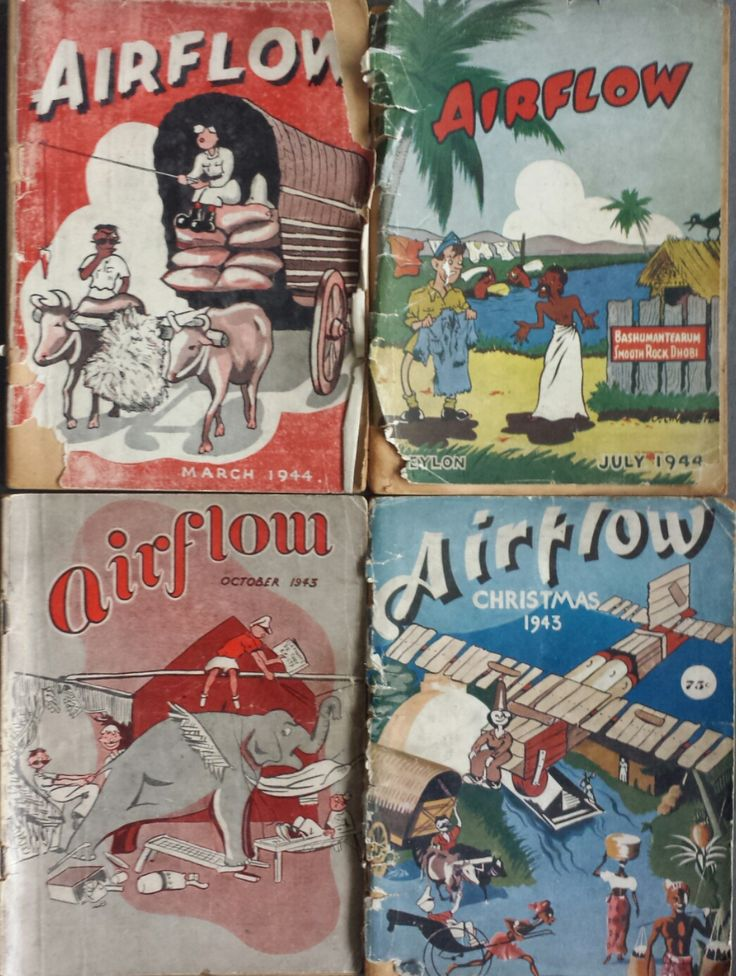 Airflow - WW2 RAF magazines produced in Ceylon (modern day Sri Lanka). These magazines are filled with stories, photos, cartoons, anti-Nazi propaganda etc.