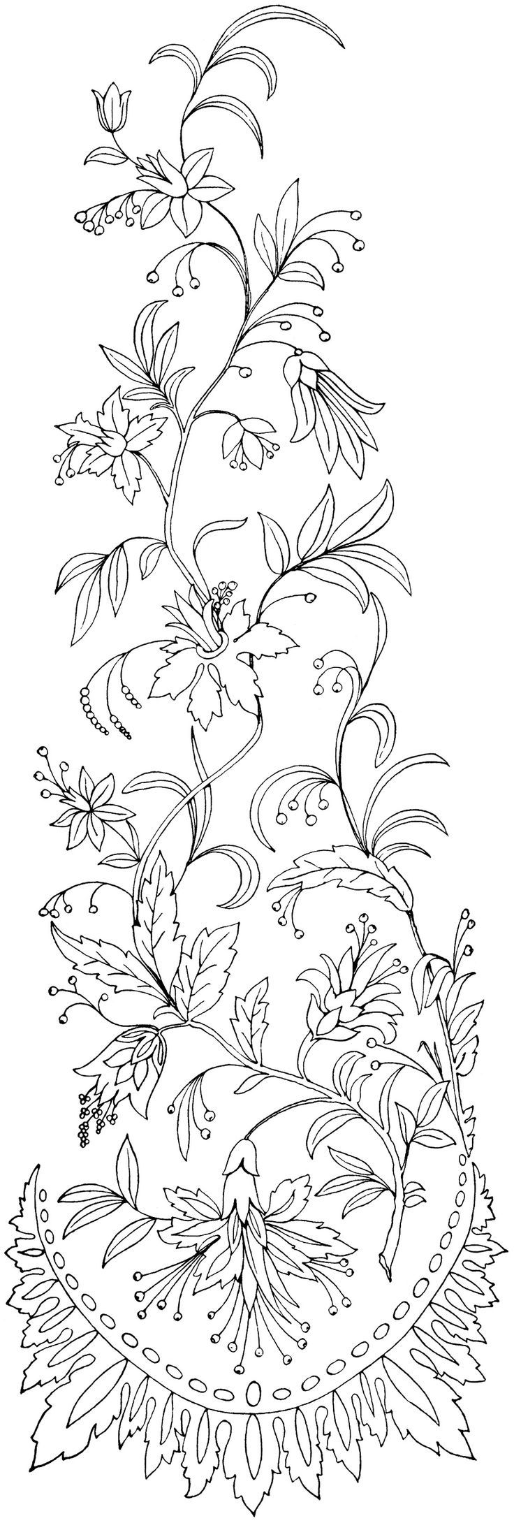 Free Printable Designs | This lovely vintage embroidery pattern of swirly flowers and leaves is ...