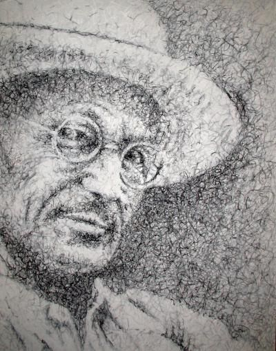 """HERMANN HESSE ""  Pittura, MDF, 60 x 70 cm, 2007  contatti: studio.montanaro.mt@gmail.com tel.0835 312459"