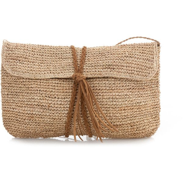 SCOOP Raffia Crochet Clutch ($105) ❤ liked on Polyvore