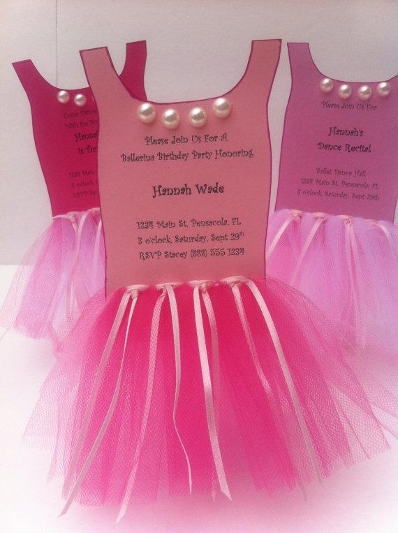 Ballerina Tutu Party InvitationSet of 8 by ThePolkaDottedRoom, $35.00