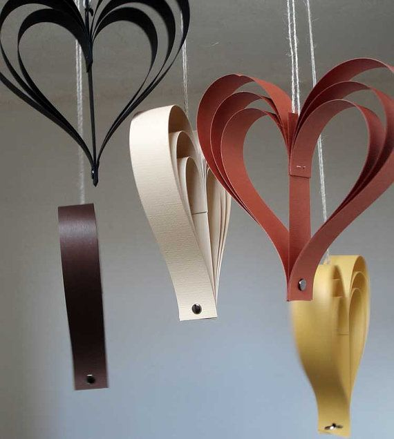 Paper Hearts Fall Decor Fall Wedding Decorations Pew by Bookity