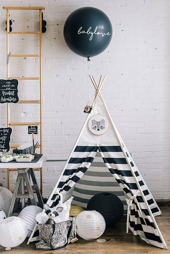 Black White Stripes Combo Kid's Teepee  Black or White