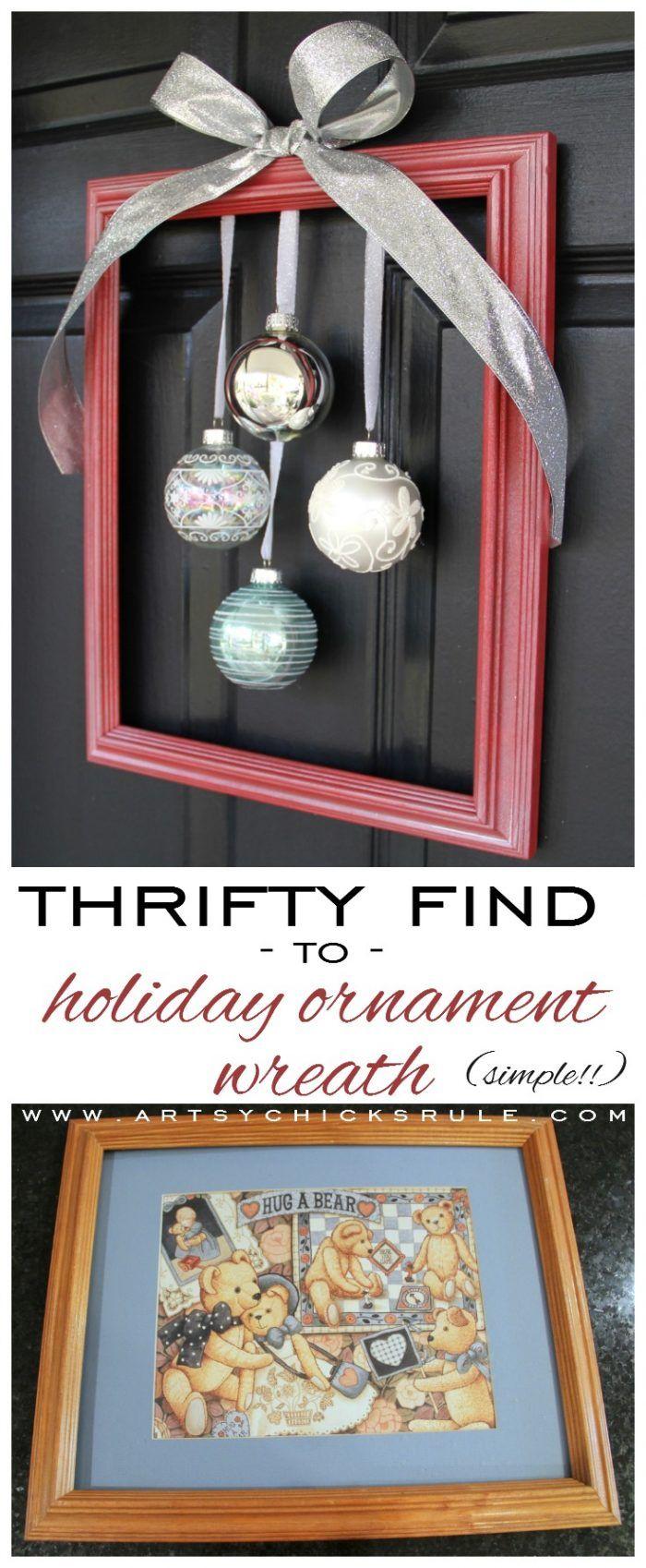 So Simple!!! DIY Framed Ornament Wreath #wreath #diy #ornamentwreath #framedornamentwreath artsychicksrule.com