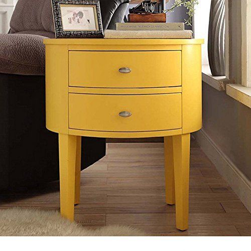 Modern Style Wood Accent Nightstand End Sofa Table Console Oval