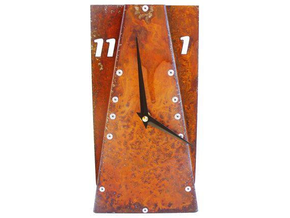 Leaning III Medium Desk Clock Rusted Desk Clock by All15Designs