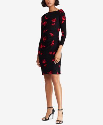 b61b09eac80 Lauren Ralph Lauren Petite Floral-Print Dress - Pomegranate/Vibrant Garnet  16P