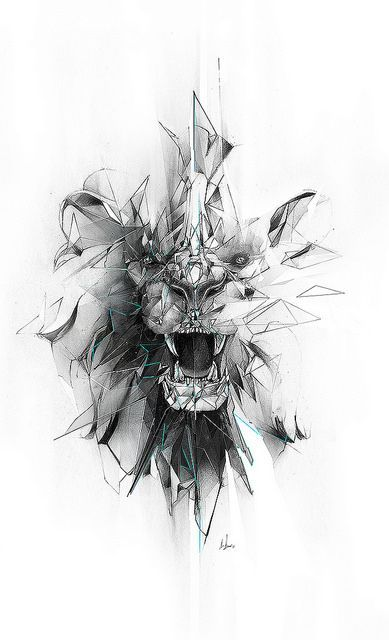 Broken grey geometric lion face tattoo design