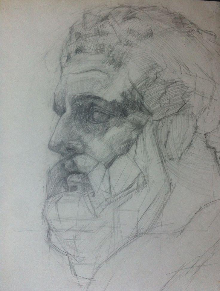 Геракл, 40х60 см, бумага, карандаш