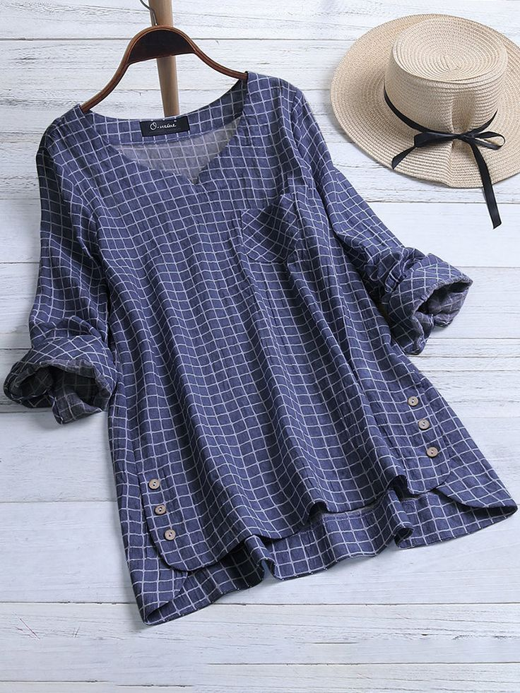 O-NEWE Vintage Plaid Button Hooded Irregular Plus Size Blouse with Pokcets - New... 11