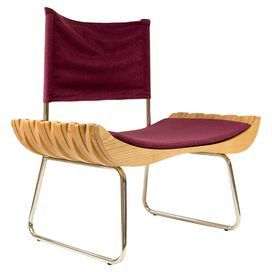 Organique Chair in Chrome & Burgundy By Gie El