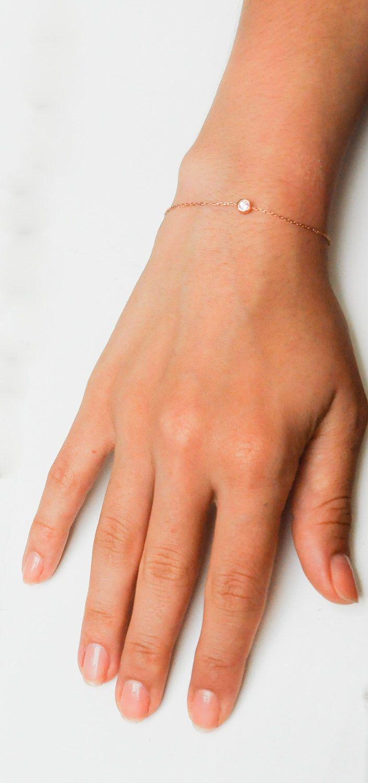 Ruby for July!  Thin Gold Bracelet - Dainty Gold Bracelet by eleajewelry on Etsy https://www.etsy.com/listing/196153069/birthstone-bracelet-rose-gold-bracelet