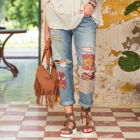 LEVI'S 501 DESPERADO PATCH JEANS - Patched, distressed, and ready to play with a carefree weekend attitude, these Levi's® 501 Jeans offer the classic fit.