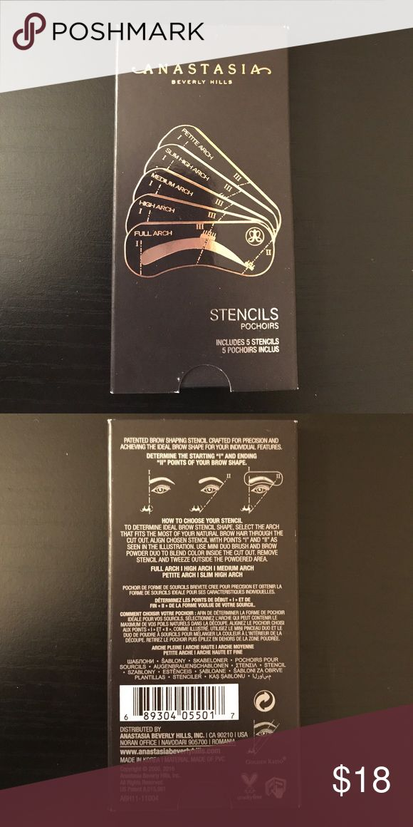 Anastasia Eyebrow Stencils Brand new in packaging. 5 Anastasia eyebrow stencils Anastasia Beverly Hills Makeup